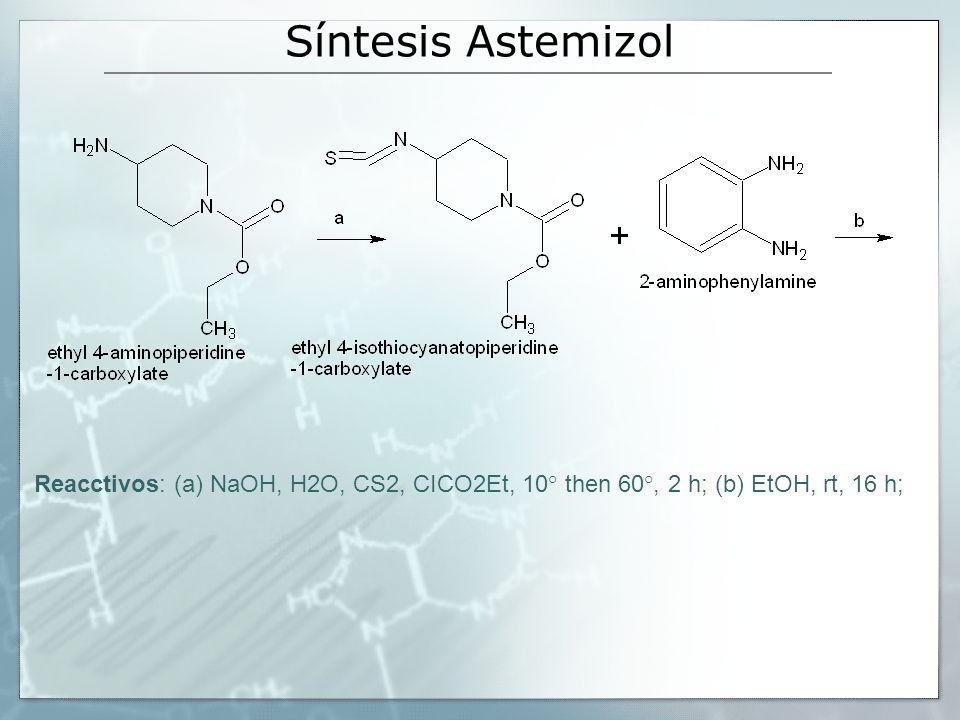 Síntesis Astemizol Reacctivos: (a) NaOH, H2O, CS2, CICO2Et, 10° then 60°, 2 h; (b) EtOH, rt, 16 h;