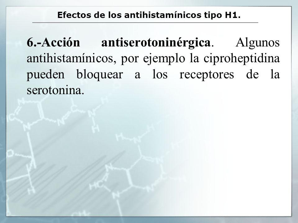 Efectos de los antihistamínicos tipo H1. 6.-Acción antiserotoninérgica. Algunos antihistamínicos, por ejemplo la ciproheptidina pueden bloquear a los
