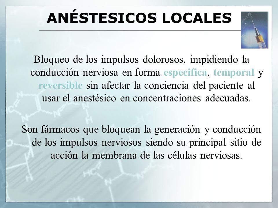 ANÉSTESICOS LOCALES Generalmente el anestésico local bloquea la conductancia del nervio uniéndose al sitio selectivo en los canales de sodio en la membrana excitable, reduce el paso de sodio a través del poro y así interfiere con el potencial de acción.