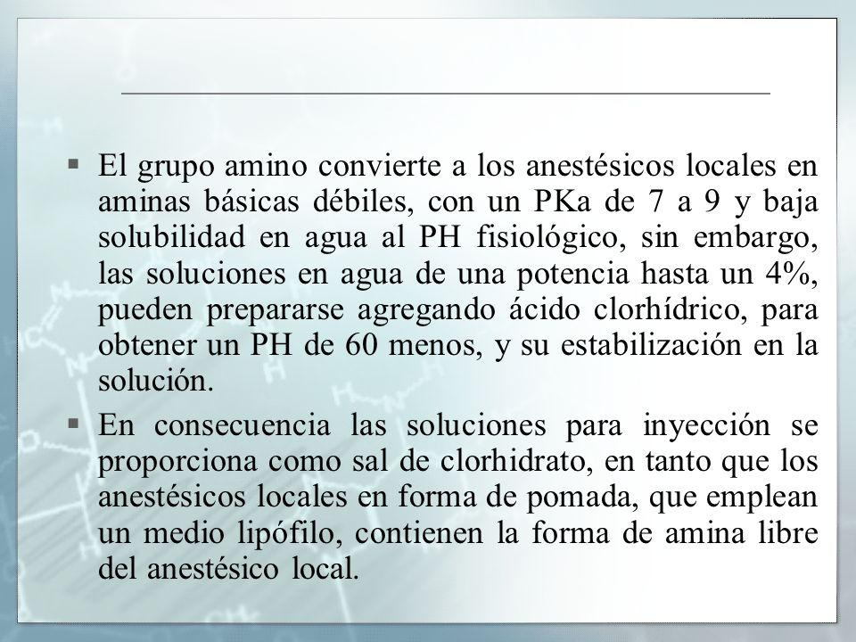 El grupo amino convierte a los anestésicos locales en aminas básicas débiles, con un PKa de 7 a 9 y baja solubilidad en agua al PH fisiológico, sin em