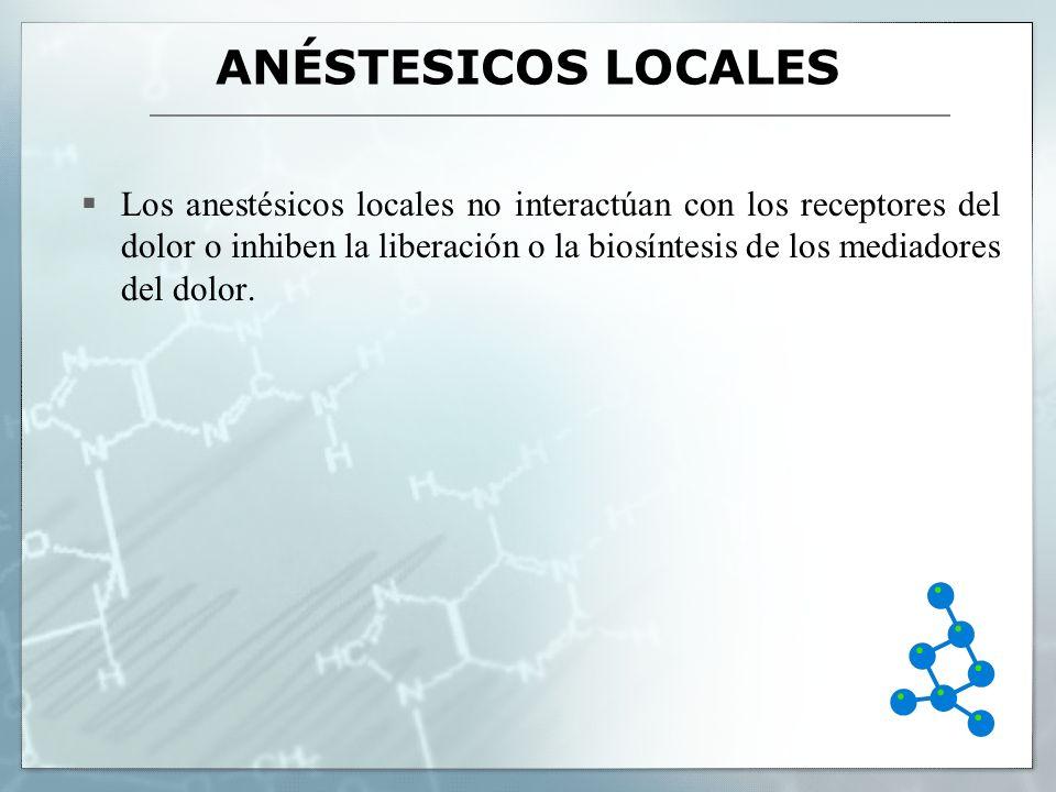 ANÉSTESICOS LOCALES Los anestésicos locales no interactúan con los receptores del dolor o inhiben la liberación o la biosíntesis de los mediadores del