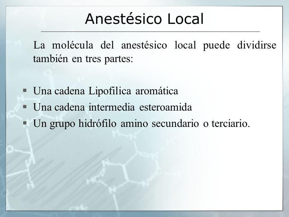 Anestésico Local La molécula del anestésico local puede dividirse también en tres partes: Una cadena Lipofilica aromática Una cadena intermedia estero