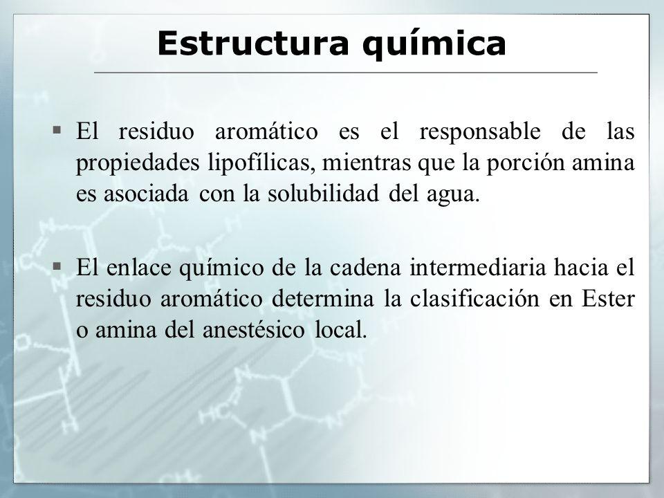 Estructura química El residuo aromático es el responsable de las propiedades lipofílicas, mientras que la porción amina es asociada con la solubilidad