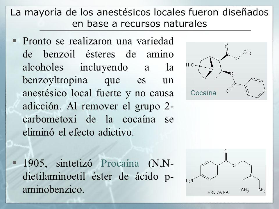 La mayoría de los anestésicos locales fueron diseñados en base a recursos naturales Pronto se realizaron una variedad de benzoil ésteres de amino alco