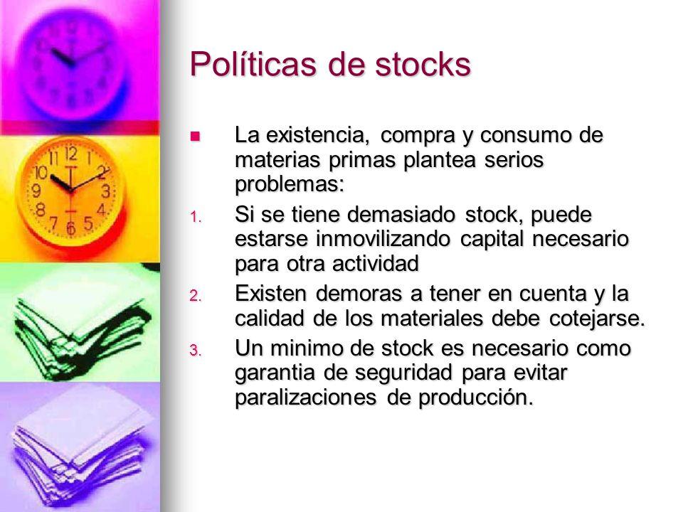 Políticas de stocks La existencia, compra y consumo de materias primas plantea serios problemas: La existencia, compra y consumo de materias primas pl