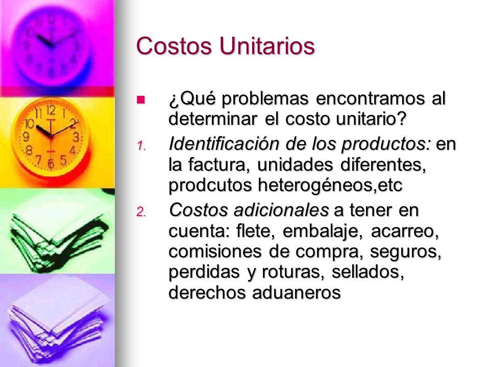 Costos Unitarios ¿Qué problemas encontramos al determinar el costo unitario? ¿Qué problemas encontramos al determinar el costo unitario? 1. Identifica
