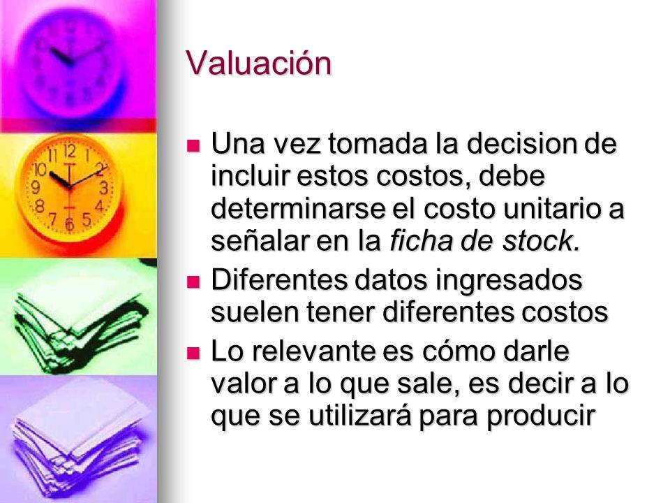Una vez tomada la decision de incluir estos costos, debe determinarse el costo unitario a señalar en la ficha de stock. Una vez tomada la decision de