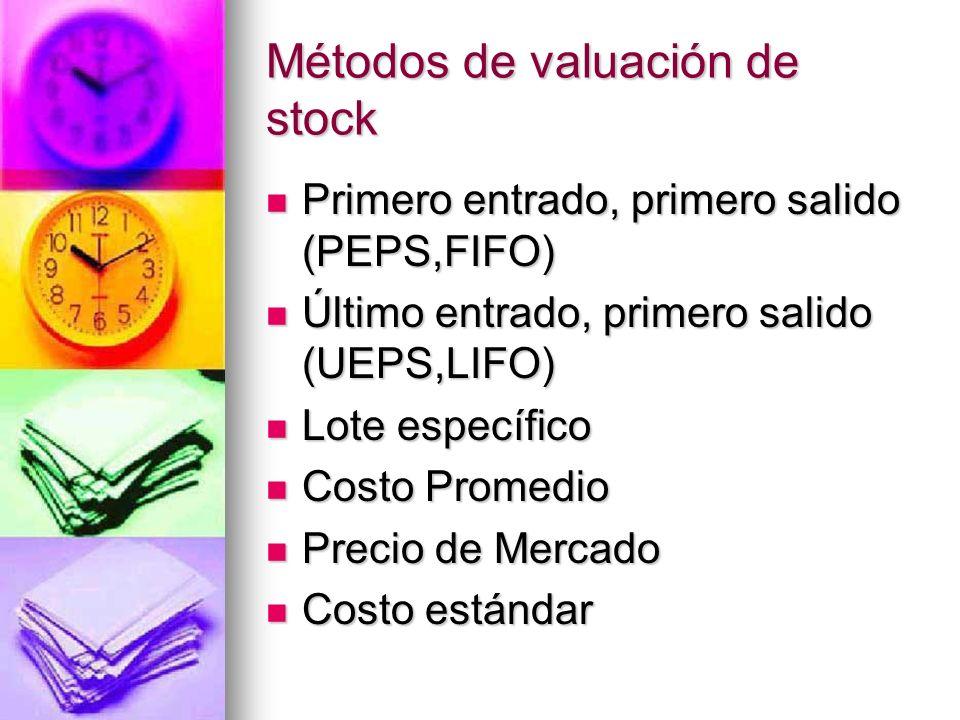 Métodos de valuación de stock Primero entrado, primero salido (PEPS,FIFO) Primero entrado, primero salido (PEPS,FIFO) Último entrado, primero salido (