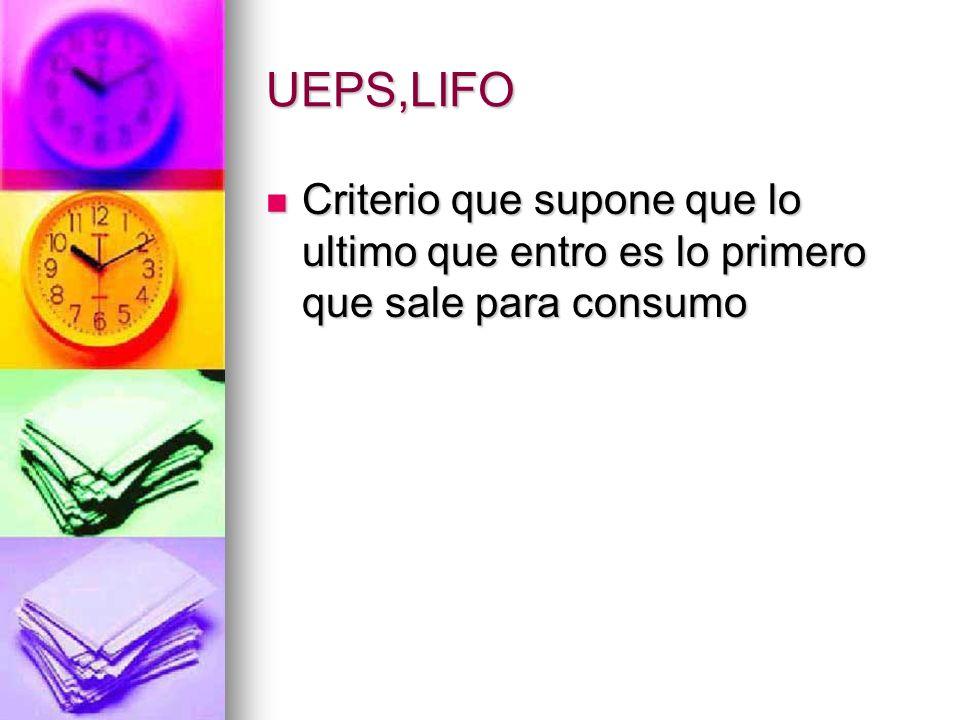 UEPS,LIFO Criterio que supone que lo ultimo que entro es lo primero que sale para consumo Criterio que supone que lo ultimo que entro es lo primero qu