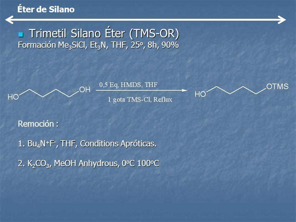 Trimetil Silano Éter (TMS-OR) Trimetil Silano Éter (TMS-OR) Formación Me 3 SiCl, Et 3 N, THF, 25 o, 8h, 90% : Remoción : 1. Bu 4 N + F -, THF, Conditi