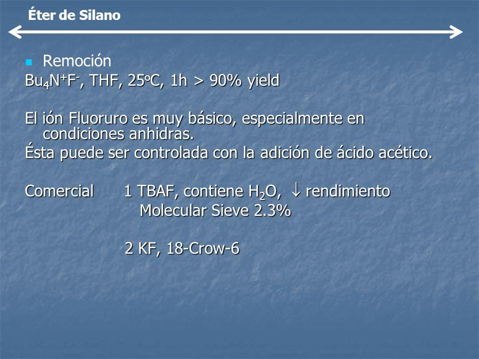 Remoción Bu 4 N + F -, THF, 25 o C, 1h > 90% yield El ión Fluoruro es muy básico, especialmente en condiciones anhidras. Ésta puede ser controlada con
