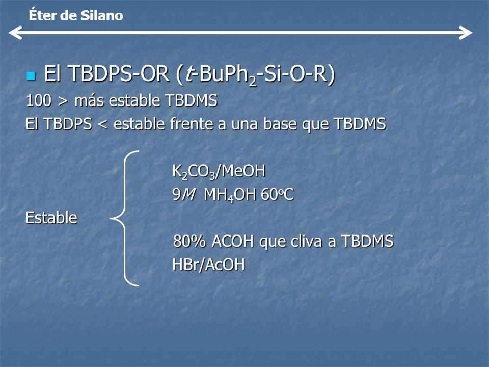El TBDPS-OR (t-BuPh 2 -Si-O-R) El TBDPS-OR (t-BuPh 2 -Si-O-R) 100 > más estable TBDMS El TBDPS < estable frente a una base que TBDMS K 2 CO 3 /MeOH 9M
