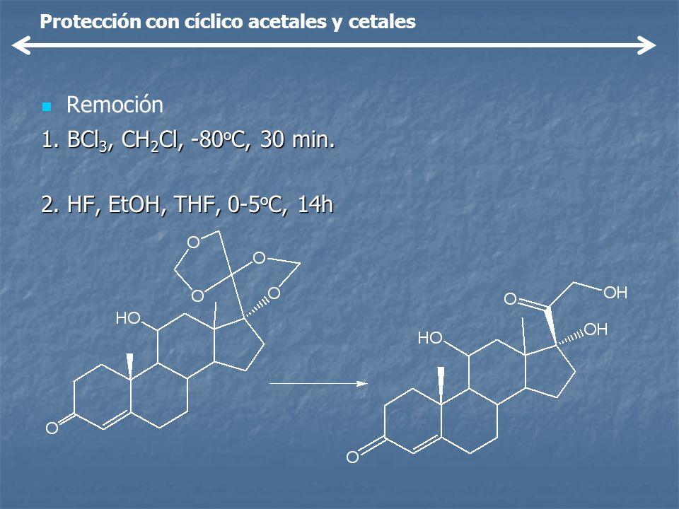 Remoción 1. BCl 3, CH 2 Cl, -80 o C, 30 min. 2. HF, EtOH, THF, 0-5 o C, 14h Protección con cíclico acetales y cetales