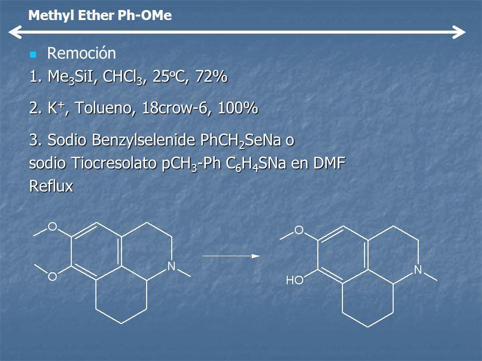 Remoción 1. Me 3 SiI, CHCl 3, 25 o C, 72% 2. K +, Tolueno, 18crow-6, 100% 3. Sodio Benzylselenide PhCH 2 SeNa o sodio Tiocresolato pCH 3 -Ph C 6 H 4 S