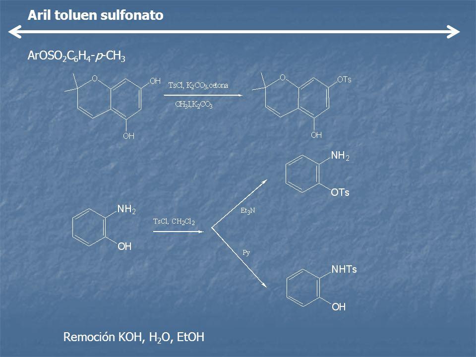 Aril toluen sulfonato ArOSO 2 C 6 H 4 -p-CH 3 Remoción KOH, H 2 O, EtOH