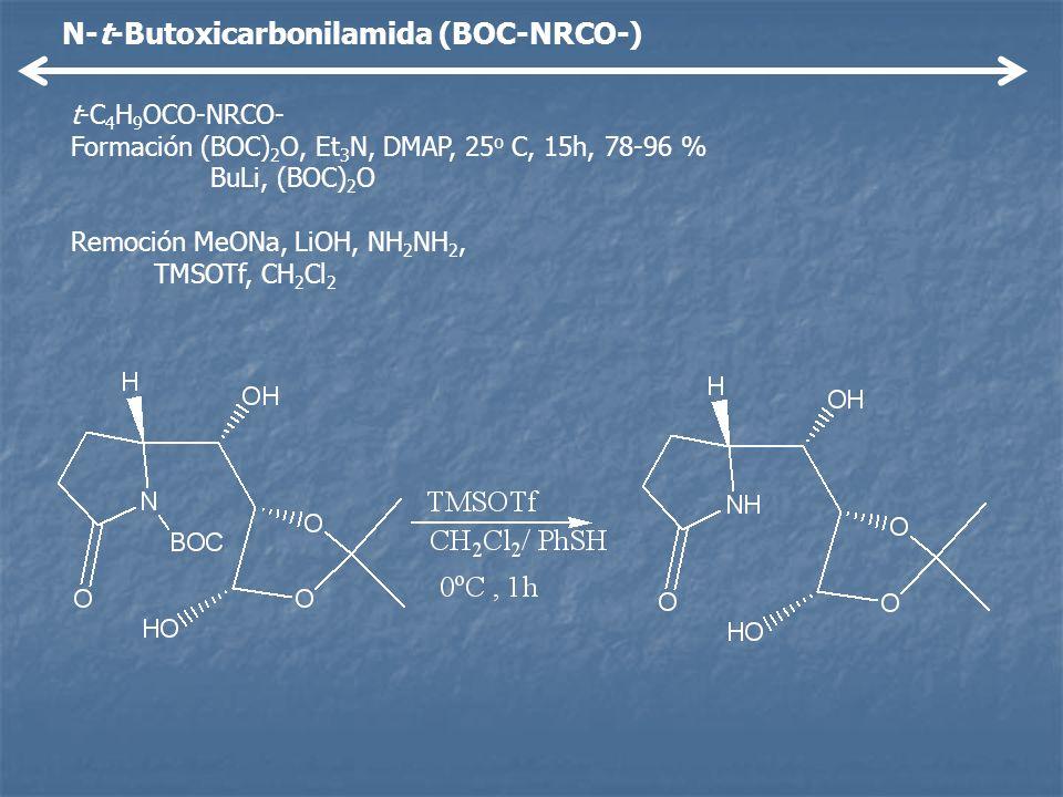 N-t-Butoxicarbonilamida (BOC-NRCO-) t-C 4 H 9 OCO-NRCO- Formación (BOC) 2 O, Et 3 N, DMAP, 25 o C, 15h, 78-96 % BuLi, (BOC) 2 O Remoción MeONa, LiOH,