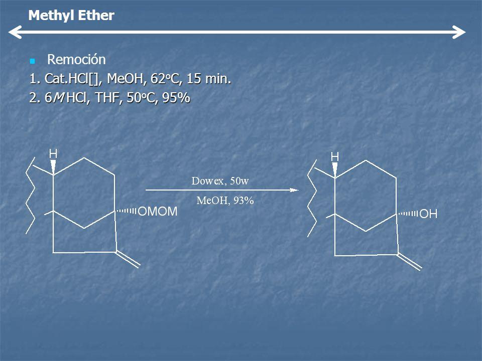 Remoción 1. Cat.HCl[], MeOH, 62 o C, 15 min. 2. 6M HCl, THF, 50 o C, 95% Methyl Ether
