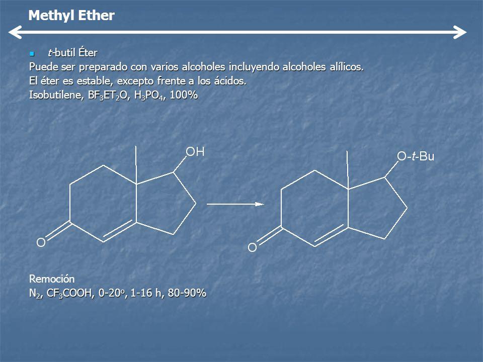 t-butil Éter t-butil Éter Puede ser preparado con varios alcoholes incluyendo alcoholes alílicos. El éter es estable, excepto frente a los ácidos. Iso