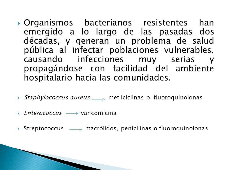 Organismos bacterianos resistentes han emergido a lo largo de las pasadas dos décadas, y generan un problema de salud pública al infectar poblaciones
