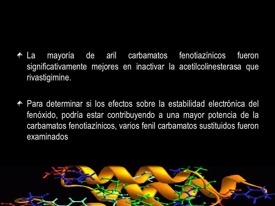 La mayoría de aril carbamatos fenotiazínicos fueron significativamente mejores en inactivar la acetilcolinesterasa que rivastigimine. Para determinar