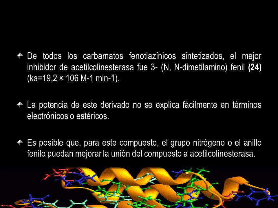 De todos los carbamatos fenotiazínicos sintetizados, el mejor inhibidor de acetilcolinesterasa fue 3- (N, N-dimetilamino) fenil (24) (ka=19,2 × 106 M-