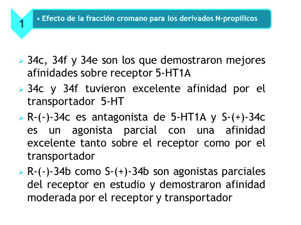 34c, 34f y 34e son los que demostraron mejores afinidades sobre receptor 5-HT1A 34c y 34f tuvieron excelente afinidad por el transportador 5-HT R-(-)-34c es antagonista de 5-HT1A y S-(+)-34c es un agonista parcial con una afinidad excelente tanto sobre el receptor como por el transportador R-(-)-34b como S-(+)-34b son agonistas parciales del receptor en estudio y demostraron afinidad moderada por el receptor y transportador 1 Efecto de la fracción cromano para los derivados N-propílicos