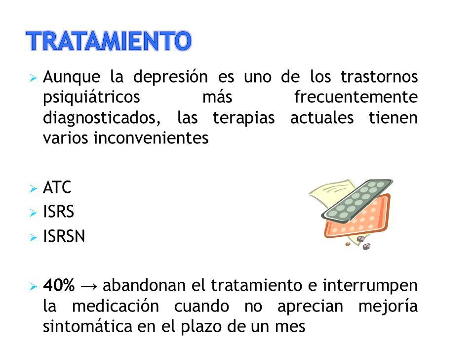 Aunque la depresión es uno de los trastornos psiquiátricos más frecuentemente diagnosticados, las terapias actuales tienen varios inconvenientes ATC ISRS ISRSN 40% abandonan el tratamiento e interrumpen la medicación cuando no aprecian mejoría sintomática en el plazo de un mes