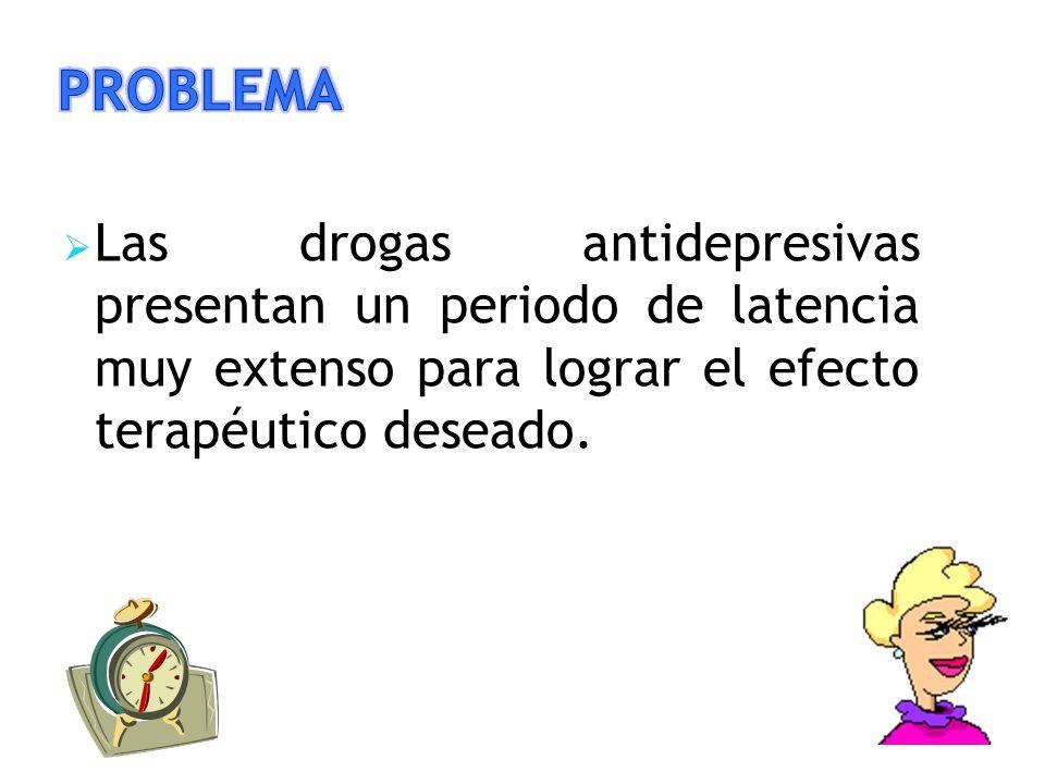 Las drogas antidepresivas presentan un periodo de latencia muy extenso para lograr el efecto terapéutico deseado.