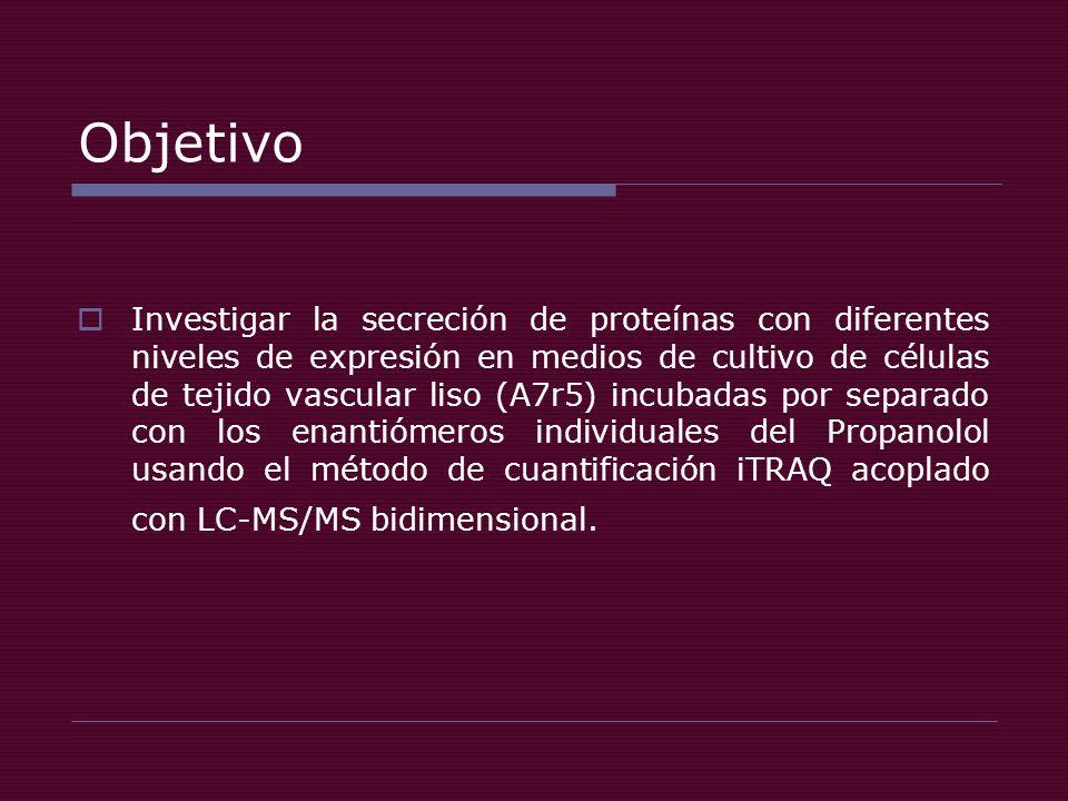 Objetivo Investigar la secreción de proteínas con diferentes niveles de expresión en medios de cultivo de células de tejido vascular liso (A7r5) incubadas por separado con los enantiómeros individuales del Propanolol usando el método de cuantificación iTRAQ acoplado con LC-MS/MS bidimensional.