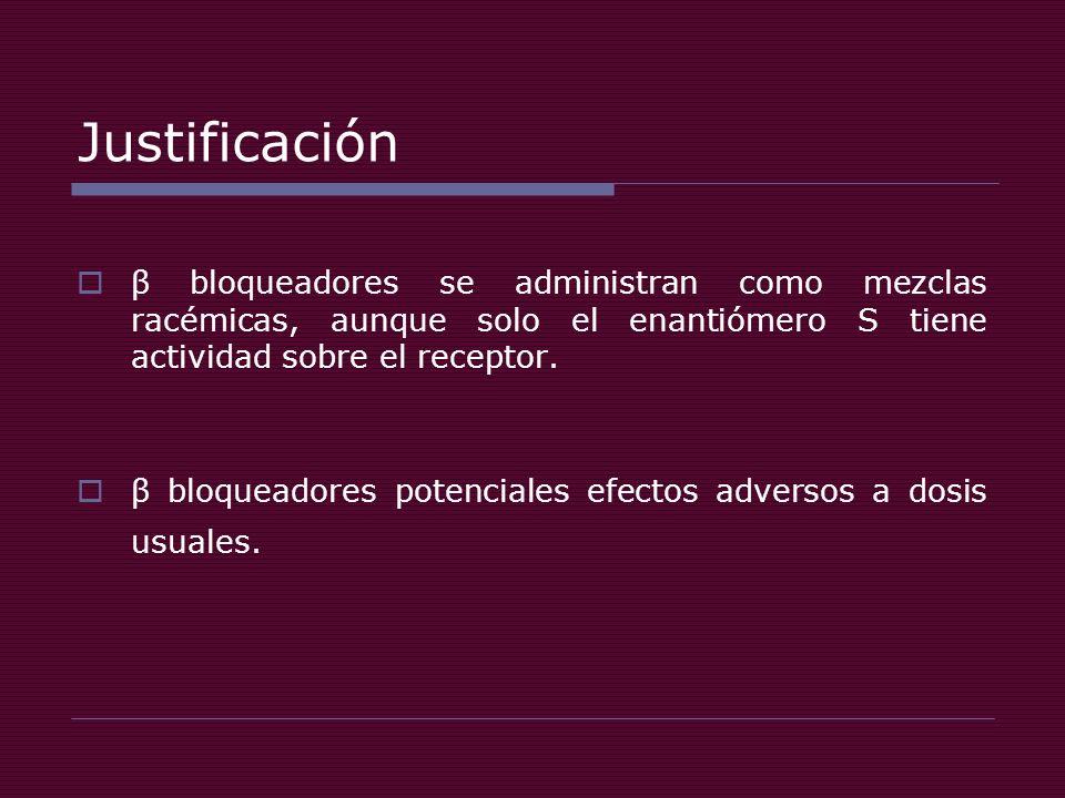 Justificación β bloqueadores se administran como mezclas racémicas, aunque solo el enantiómero S tiene actividad sobre el receptor.