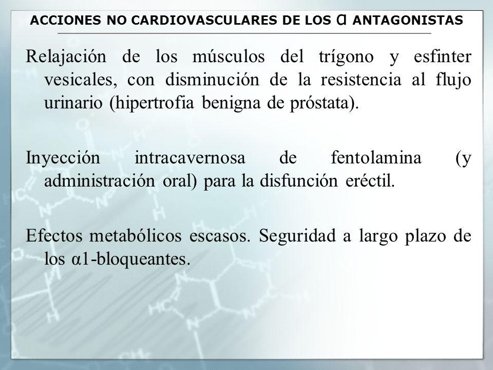 ACCIONES NO CARDIOVASCULARES DE LOS α ANTAGONISTAS Relajación de los músculos del trígono y esfinter vesicales, con disminución de la resistencia al f