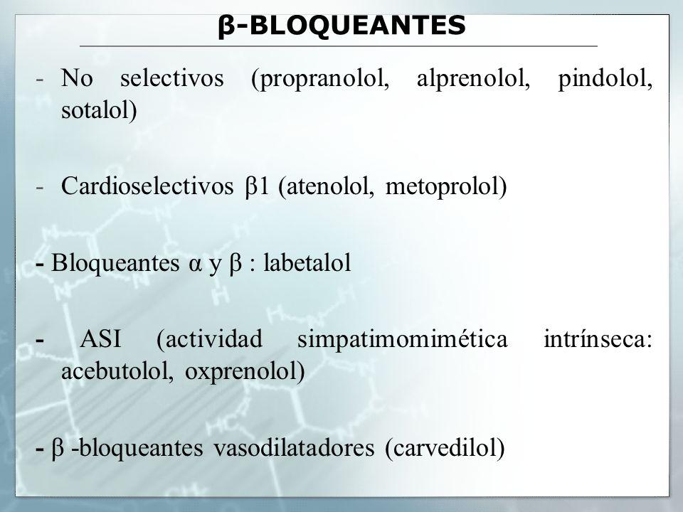 β-BLOQUEANTES -No selectivos (propranolol, alprenolol, pindolol, sotalol) -Cardioselectivos β1 (atenolol, metoprolol) - Bloqueantes α y β : labetalol