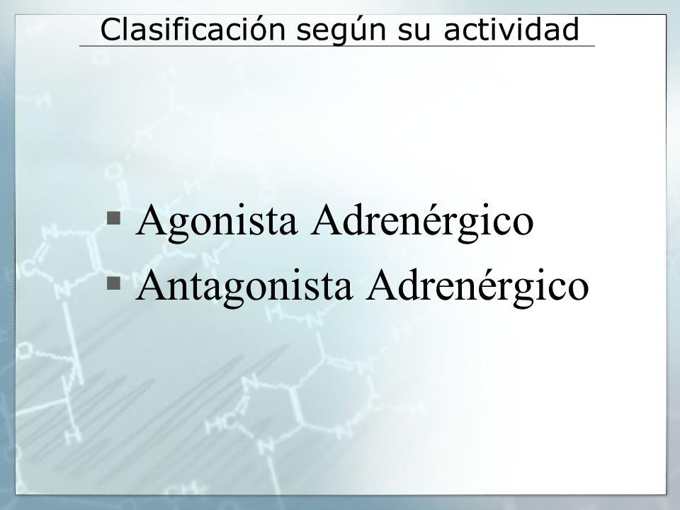 Clasificación según su actividad Agonista Adrenérgico Antagonista Adrenérgico