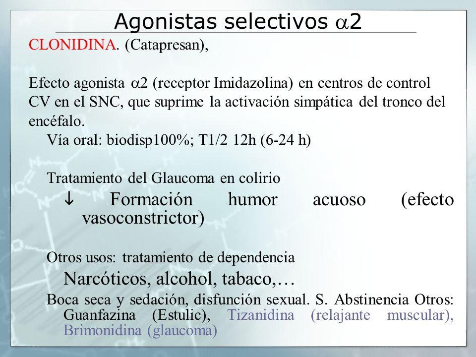 Agonistas selectivos 2 CLONIDINA. (Catapresan), Efecto agonista 2 (receptor Imidazolina) en centros de control CV en el SNC, que suprime la activación