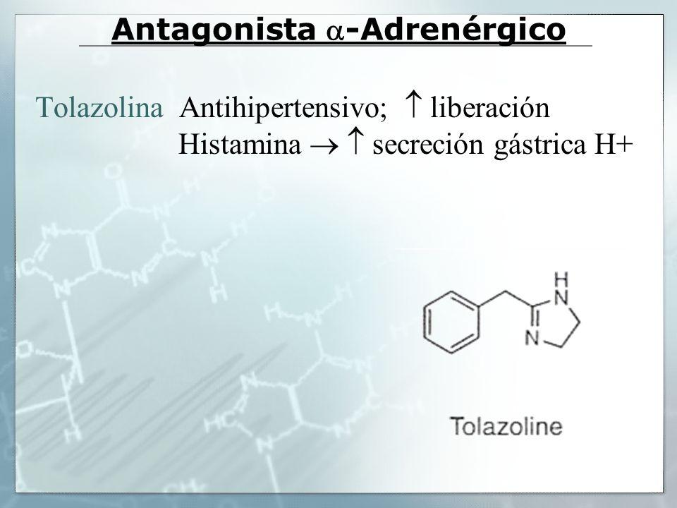 Antagonista -Adrenérgico Tolazolina Antihipertensivo; liberación Histamina secreción gástrica H+