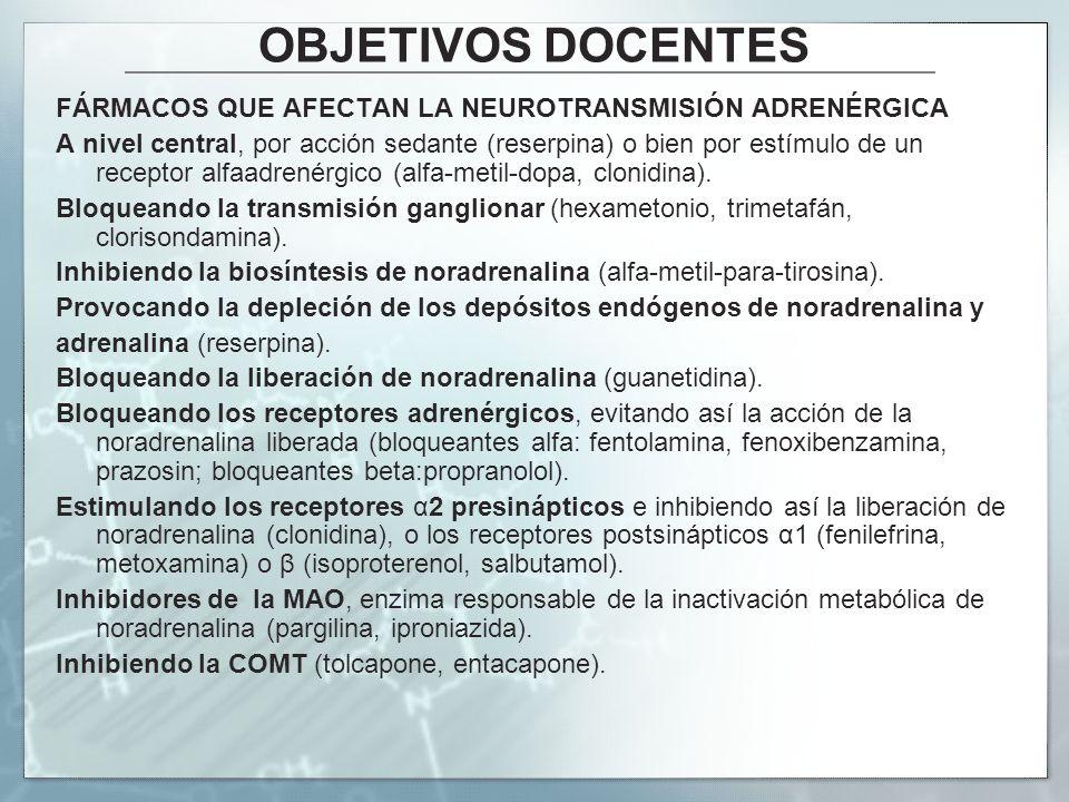 OBJETIVOS DOCENTES FÁRMACOS QUE AFECTAN LA NEUROTRANSMISIÓN ADRENÉRGICA A nivel central, por acción sedante (reserpina) o bien por estímulo de un rece