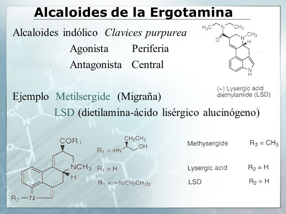 Alcaloides de la Ergotamina Alcaloides indólico Clavices purpurea Agonista Periferia Antagonista Central Ejemplo Metilsergide (Migraña) LSD (dietilami