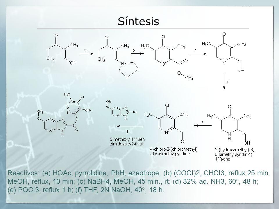 Síntesis Reactivos: (a) HOAc, pyrrolidine, PhH, azeotrope; (b) (COCI)2, CHCI3, reflux 25 min. MeOH, reflux, 10 min; (c) NaBH4, MeOH, 45 min., rt; (d)