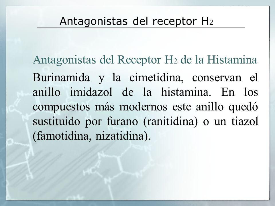 Antagonistas del receptor H 2 Antagonistas del Receptor H 2 de la Histamina Burinamida y la cimetidina, conservan el anillo imidazol de la histamina.