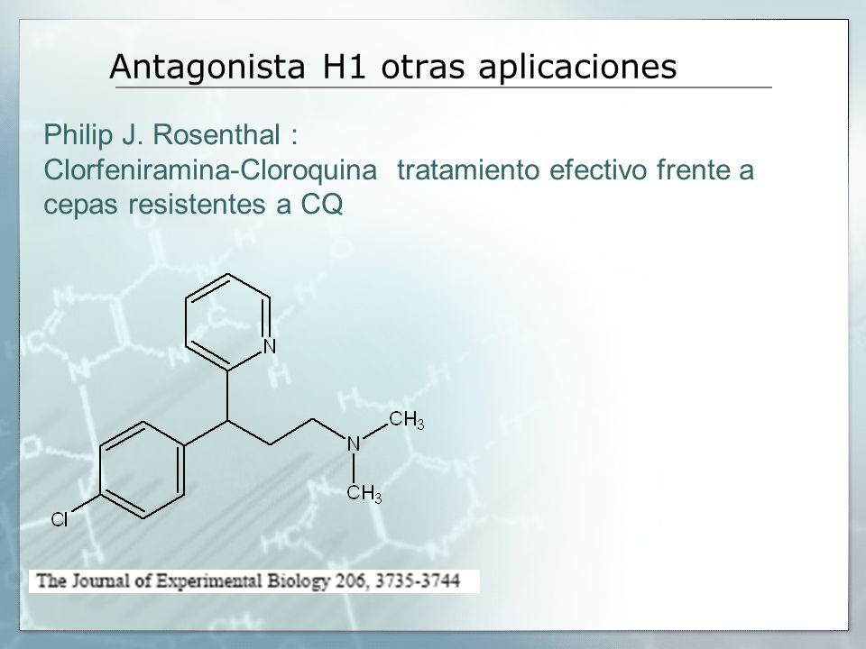 Antagonista H1 otras aplicaciones Philip J. Rosenthal : Clorfeniramina-Cloroquina tratamiento efectivo frente a cepas resistentes a CQ