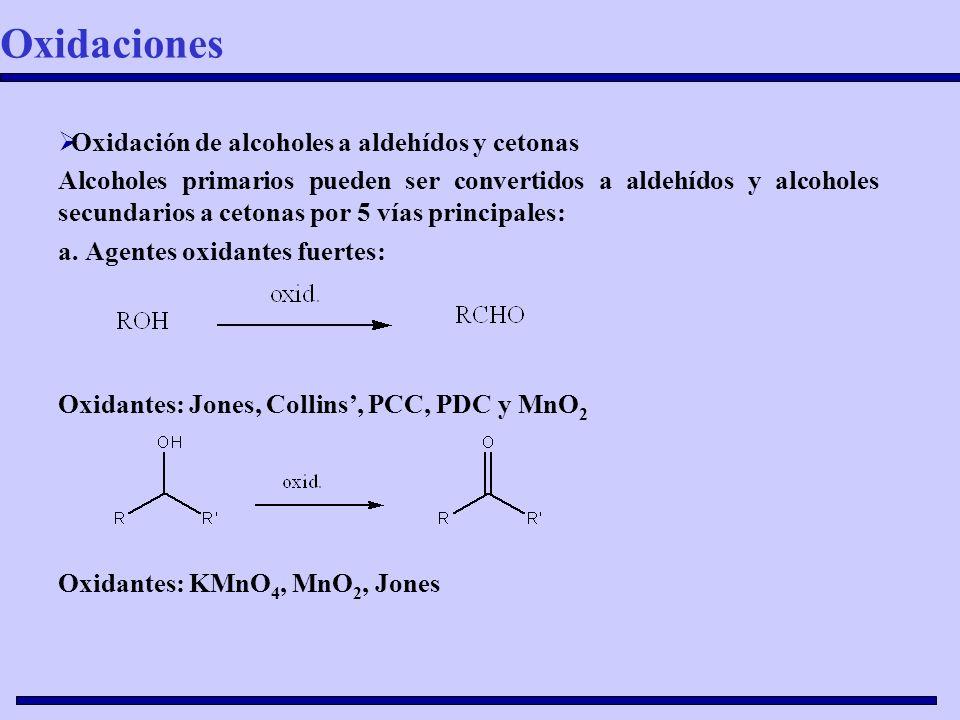 Oxidación de alcoholes a aldehídos y cetonas Alcoholes primarios pueden ser convertidos a aldehídos y alcoholes secundarios a cetonas por 5 vías princ