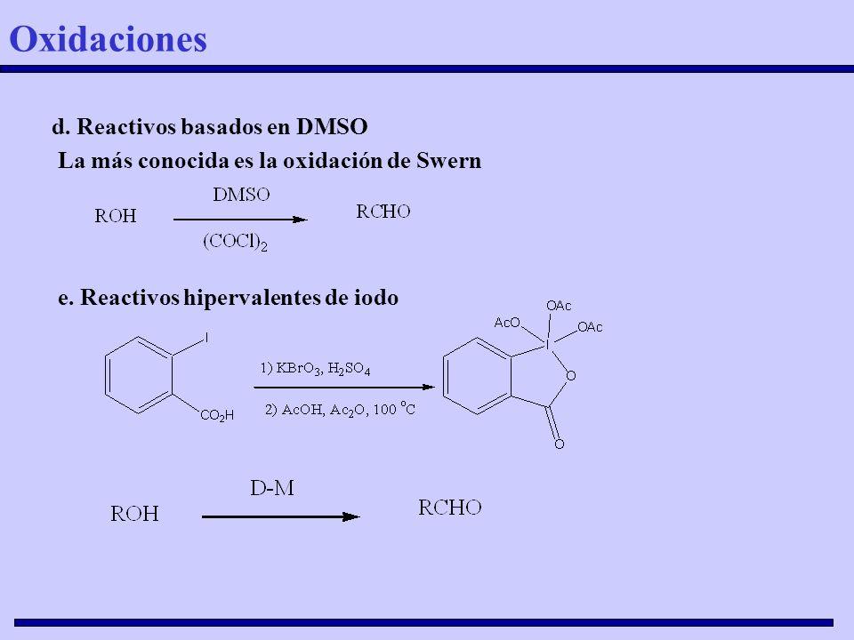 d. Reactivos basados en DMSO La más conocida es la oxidación de Swern e. Reactivos hipervalentes de iodo Oxidaciones