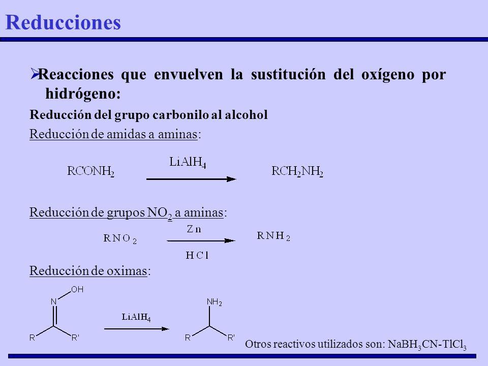 Reacciones que envuelven la sustitución del oxígeno por hidrógeno: Reducción del grupo carbonilo al alcohol Reducción de amidas a aminas: Reducción de