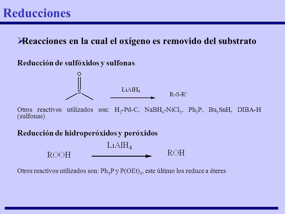 Reacciones en la cual el oxígeno es removido del substrato Reducción de sulfóxidos y sulfonas Otros reactivos utilizados son: H 2 -Pd-C, NaBH 4 -NiCl