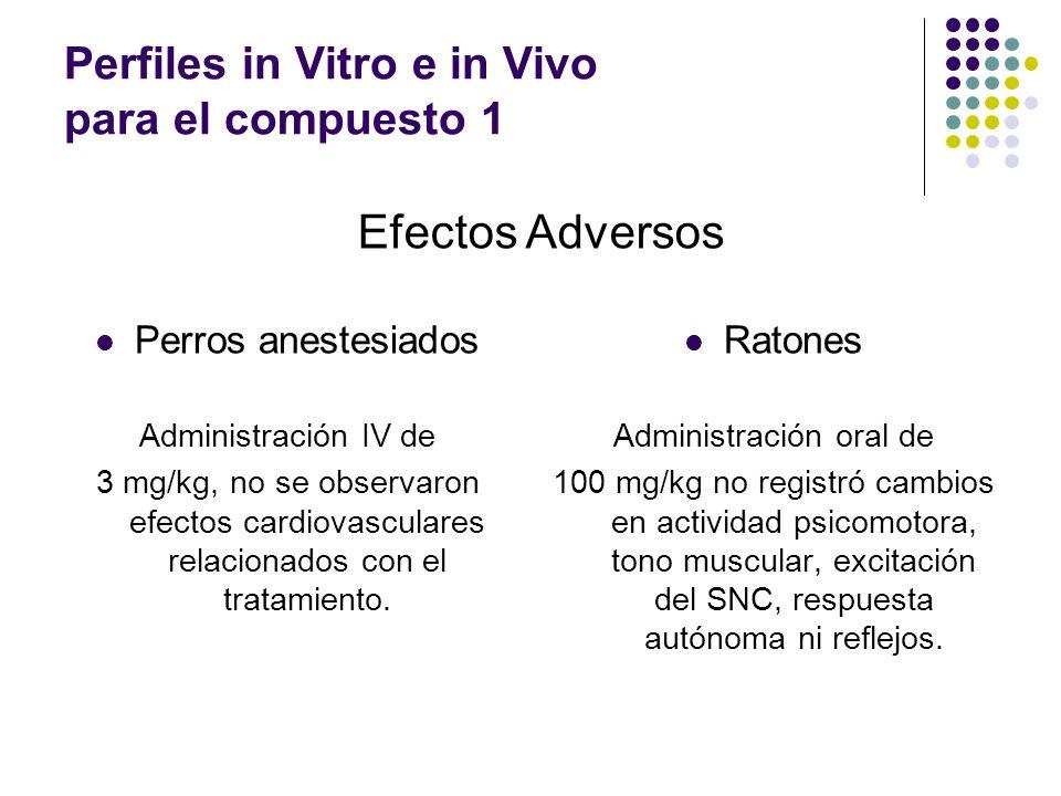 Perros anestesiados Administración IV de 3 mg/kg, no se observaron efectos cardiovasculares relacionados con el tratamiento.