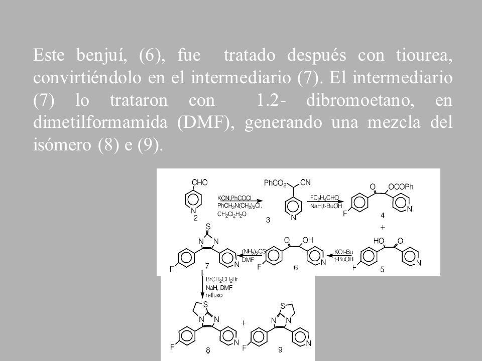 Este benjuí, (6), fue tratado después con tiourea, convirtiéndolo en el intermediario (7). El intermediario (7) lo trataron con 1.2- dibromoetano, en