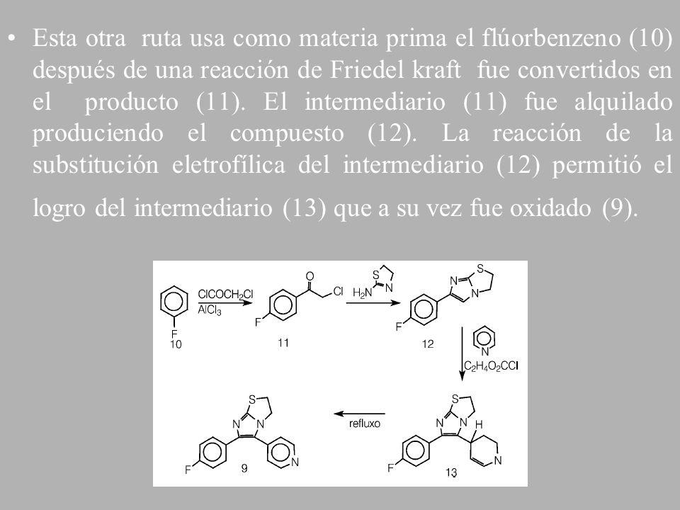 Esta otra ruta usa como materia prima el flúorbenzeno (10) después de una reacción de Friedel kraft fue convertidos en el producto (11). El intermedia