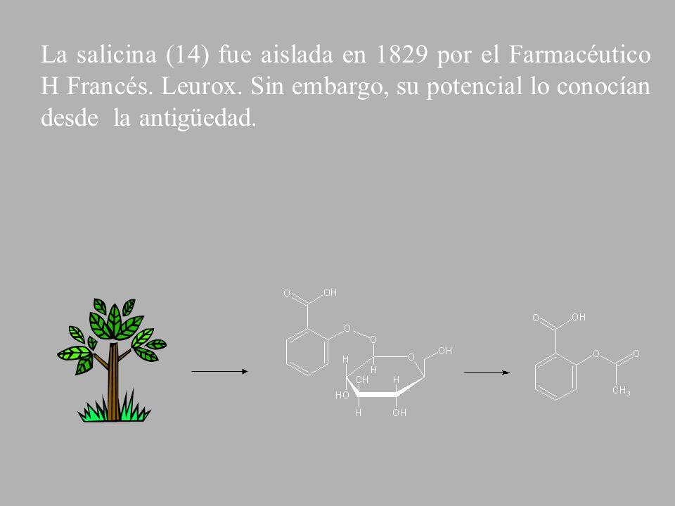 La salicina (14) fue aislada en 1829 por el Farmacéutico H Francés. Leurox. Sin embargo, su potencial lo conocían desde la antigüedad.