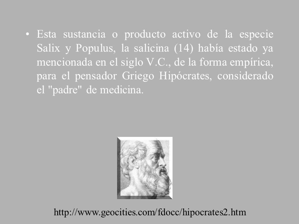 Esta sustancia o producto activo de la especie Salix y Populus, la salicina (14) había estado ya mencionada en el siglo V.C., de la forma empírica, pa