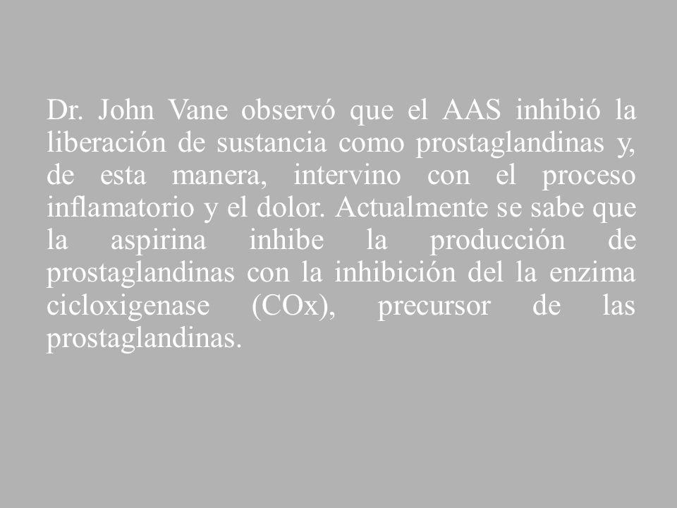 Dr. John Vane observó que el AAS inhibió la liberación de sustancia como prostaglandinas y, de esta manera, intervino con el proceso inflamatorio y el